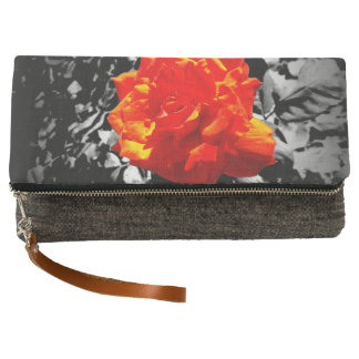 Red rose Charcoal Fold-Over Clutch