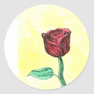 Red Rose. Classic Round Sticker