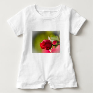 Red rose close up design baby romper