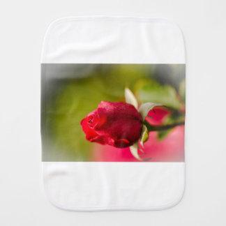 Red rose close up design burp cloth