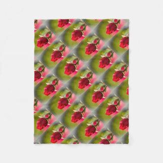 Red rose close up design fleece blanket