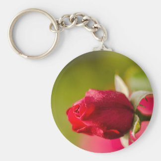 Red rose close up design keychain