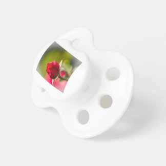 Red rose close up design pacifier