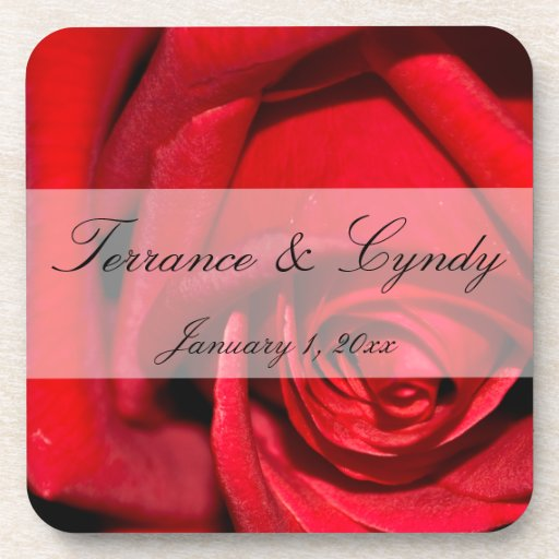 Red Rose Close Up Personal Wedding Beverage Coaster