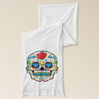 Red Rose Colorful Floral Sugar Skull Scarf