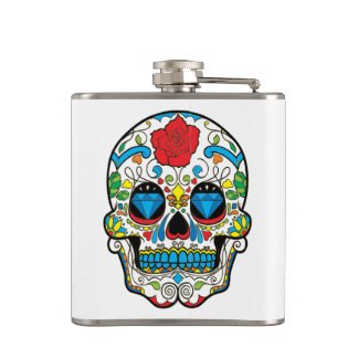 Red Rose & Colorful Retro Floral Skull Hip Flask