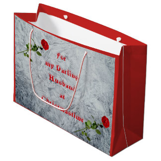 Red Rose Darling Husband at Christmas design Large Gift Bag