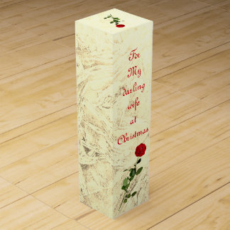 Red Rose Darling Wife at Christmas design Wine Gift Box
