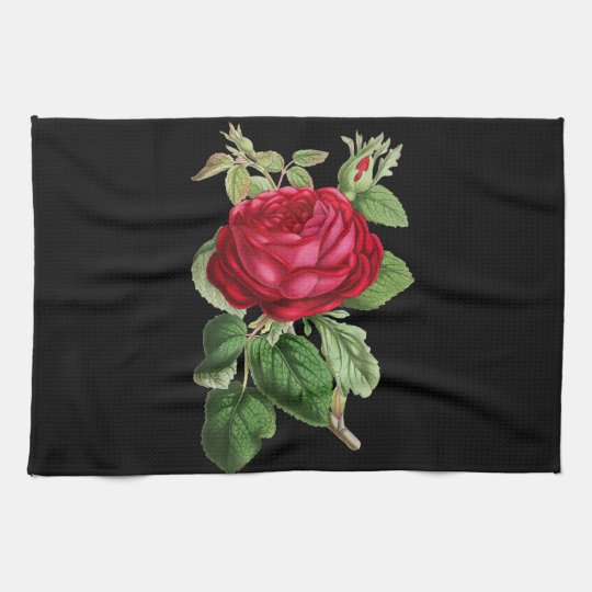 Red rose draw kitchen towel