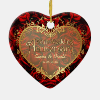 Red Rose Elegance - 50th Anniversary Ceramic Heart Ornament