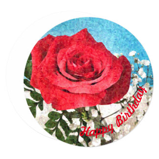 Red Rose - floral cheerful fine art happy birthday Card