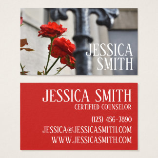 Red Rose Floral Flower Garden Gate Photography Business Card