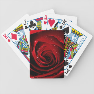 Red Rose Floral Flower Rose Petals Blossoms Dew Bicycle Playing Cards