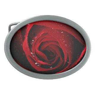 Red Rose Floral Flower Rose Petals Blossoms Dew Oval Belt Buckle