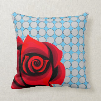 Red rose floral polka dots pattern Throw Pillow
