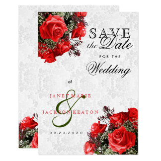 Red Rose Floral Save the Date Card