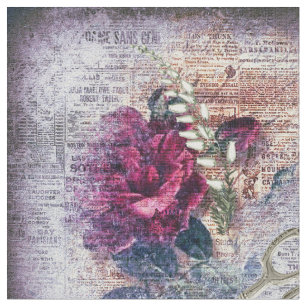 Red Rose Floral Scissors Ephemeral Pattern Fabric