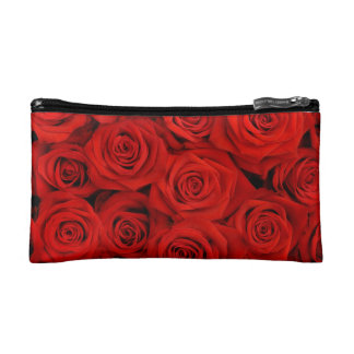 Red Rose Floral Small Cosmetic Bag