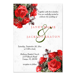Red Rose Floral Wedding Invitation