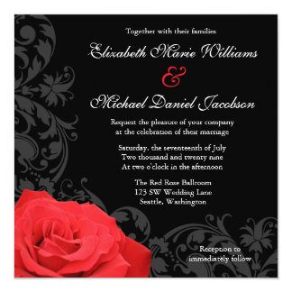 Red Rose Flourish Wedding Card