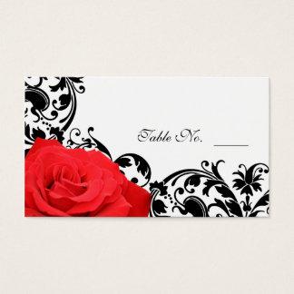 Red Rose Flourish Wedding Place Card