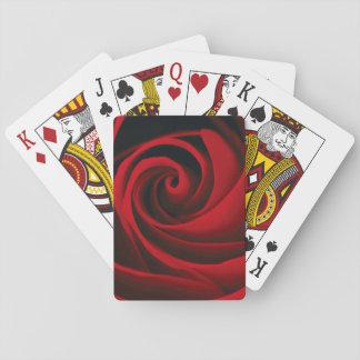 Red Rose Flower Swirl Classy Design Poker Cards