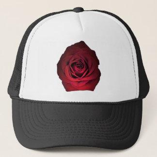 RED ROSE FLOWER TRUCKER HAT