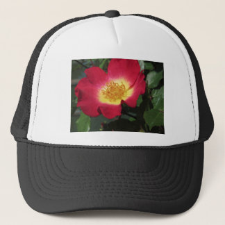 Red rose flower with yellow stamens trucker hat