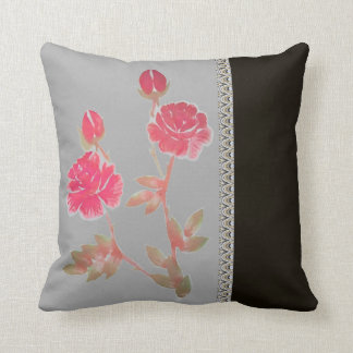 Red Rose Flowers accent gray black Throw Pillow