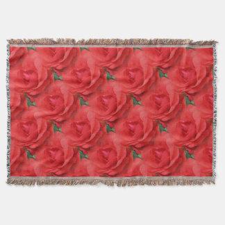Red Rose Flowers Nature Art Pattern Throw Blanket
