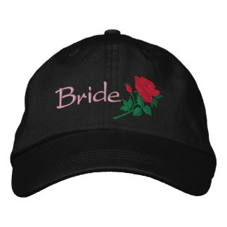 Red Rose for the Bride Embroidered Wedding Cap Embroidered Hat
