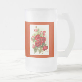 red rose frosted glass beer mug