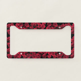 Red Rose Garden Flowers License Plate Frame