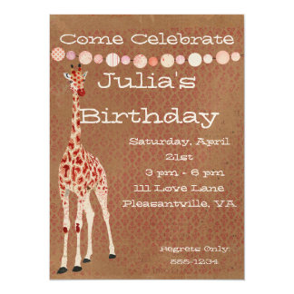 Red Rose Giraffes Birthday Invitation