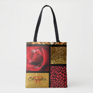 Red Rose Glitter Gold Leopard Collage Tote Bag