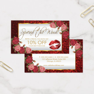 Red Rose Glitter Lipstick Business Referral Business Card