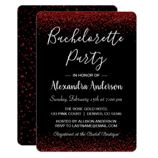 Red Rose Glitter Sparkle Bachelorette Party Card