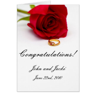 Red Rose & Gold Diamond Ring Card