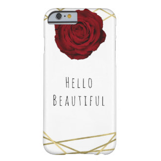 Red Rose & Gold Lines Floral Geometric Glam Chic Barely There iPhone 6 Case