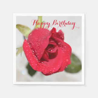 Red Rose- Happy Birthday Paper Napkin