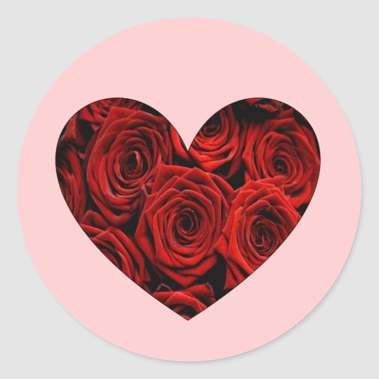 Red Rose Heart Classic Round Sticker