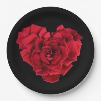 Red Rose Heart Paper Plate
