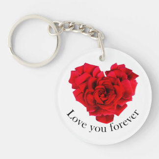 Red rose heart shaped love Double-Sided round acrylic keychain