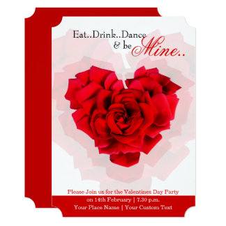 Red rose heart shaped valentine party invitation