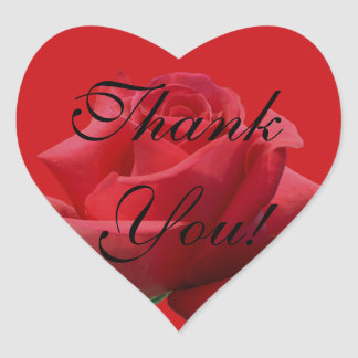 Red Rose Heart Thank you Sticker