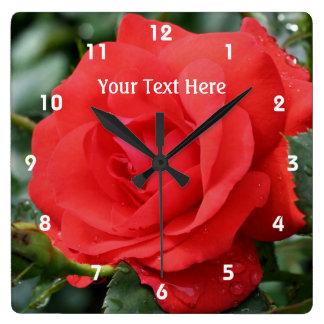 Red Rose In Bloom Flower Clock