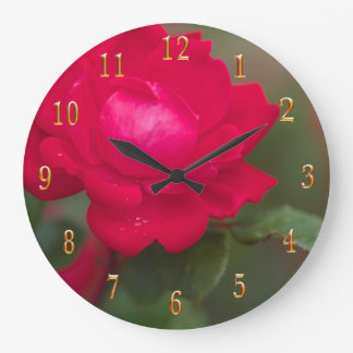 Red Rose in Bloom with Morning Dew - Gold Numbers Wallclock