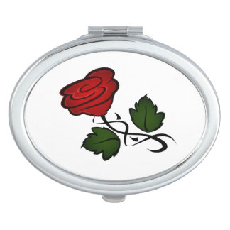 Red Rose Kiss kash002 Compact Mirror