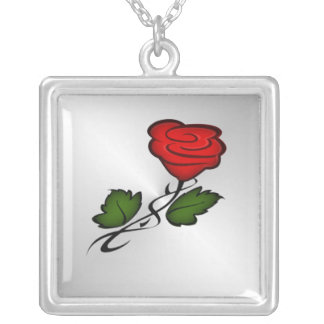 Red Rose Kiss Silver Silver Plated Necklace