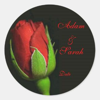 red rose, lapel rose, Adam & Sarah, Date Round Sticker